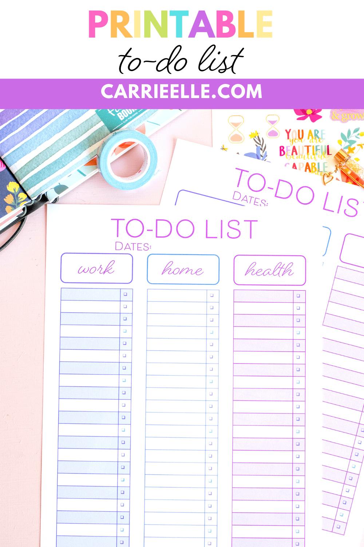 Printable To Do List Checklist   Carrie Elle
