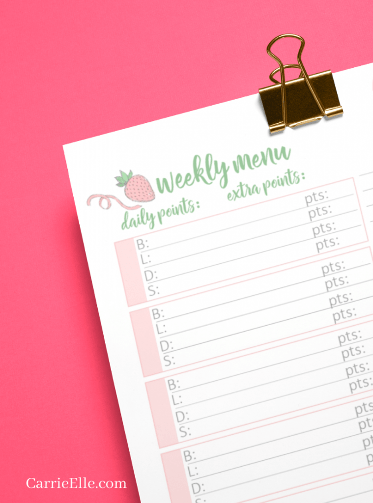 WW Meal Planning Template