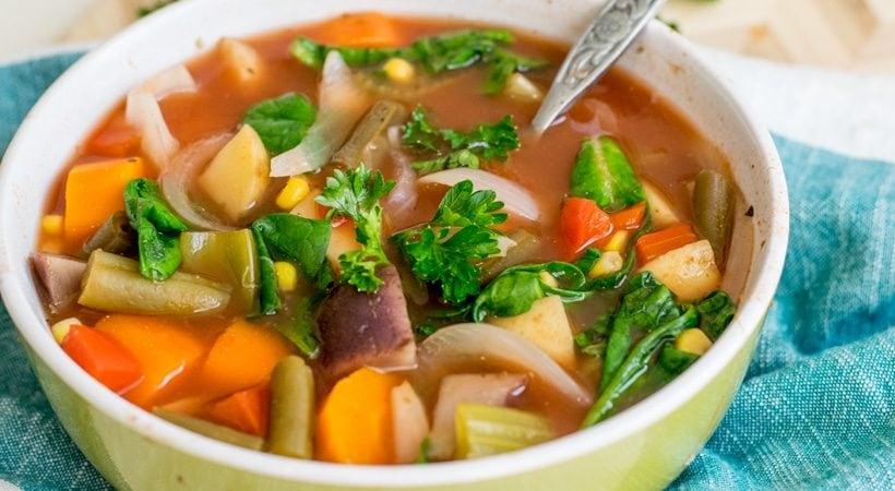 Crock Pot Vegan Vegetable Soup   Weight Watchers   21 Day Fix