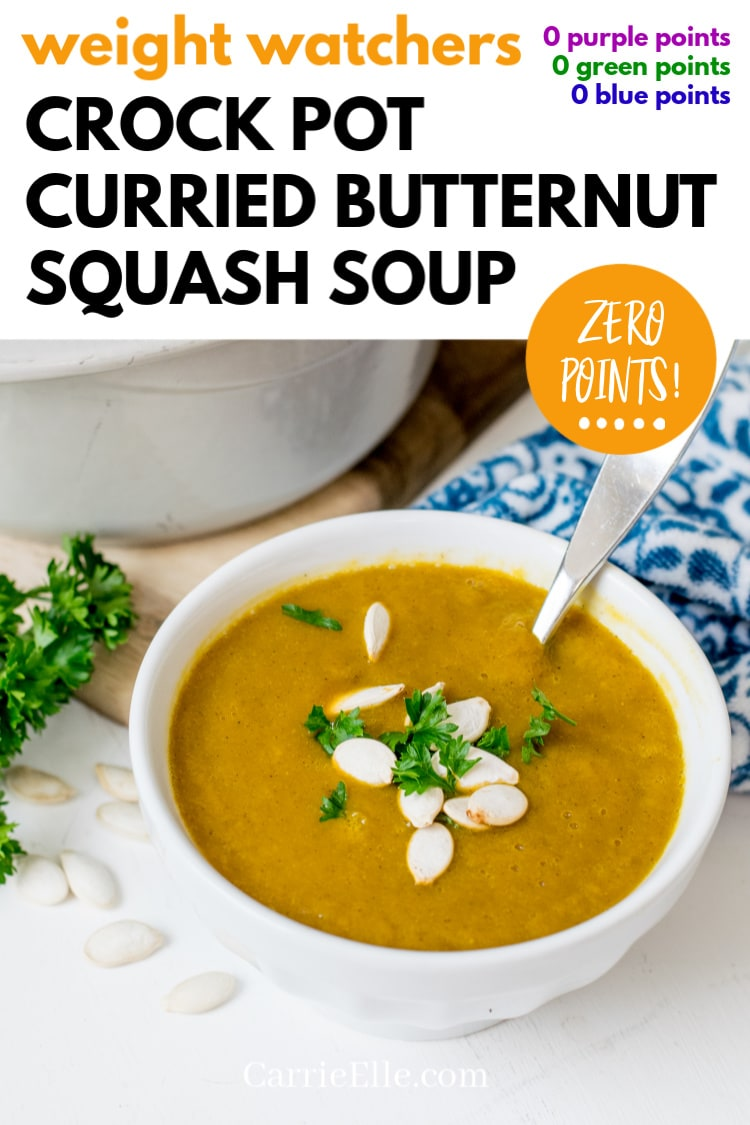 WW Zero Points Crock Pot Curried Butternut Squash Soup