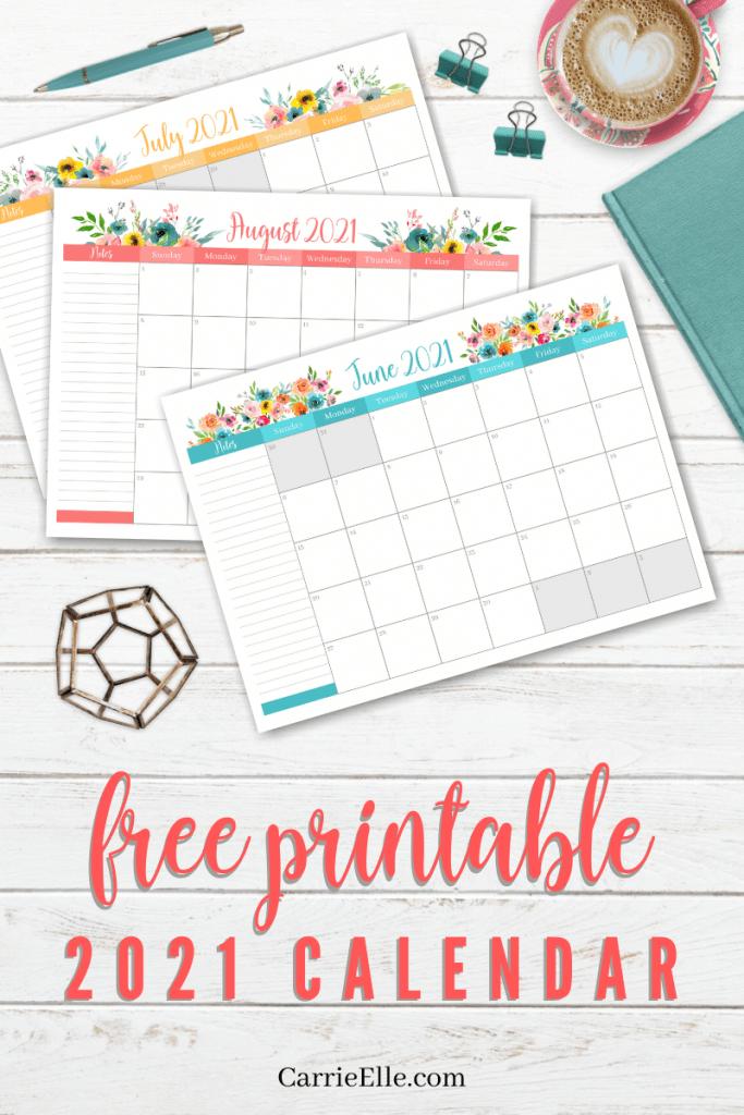 Free Printable 2021 Floral Calendar   Carrie Elle