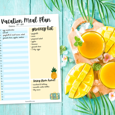 Printable Vacation Meal Planning Page