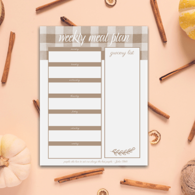 Printable Weekly Meal Planner for Fall