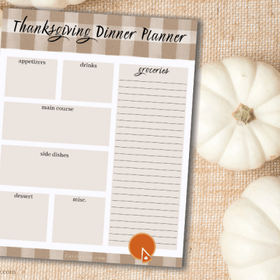 Printable Thanksgiving Dinner Meal Planner