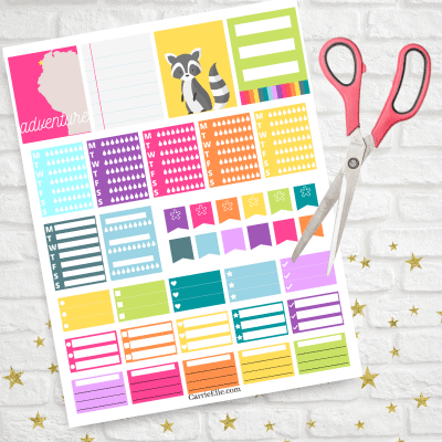 Finished printable functional rainbow planner stickers ready to be cut.