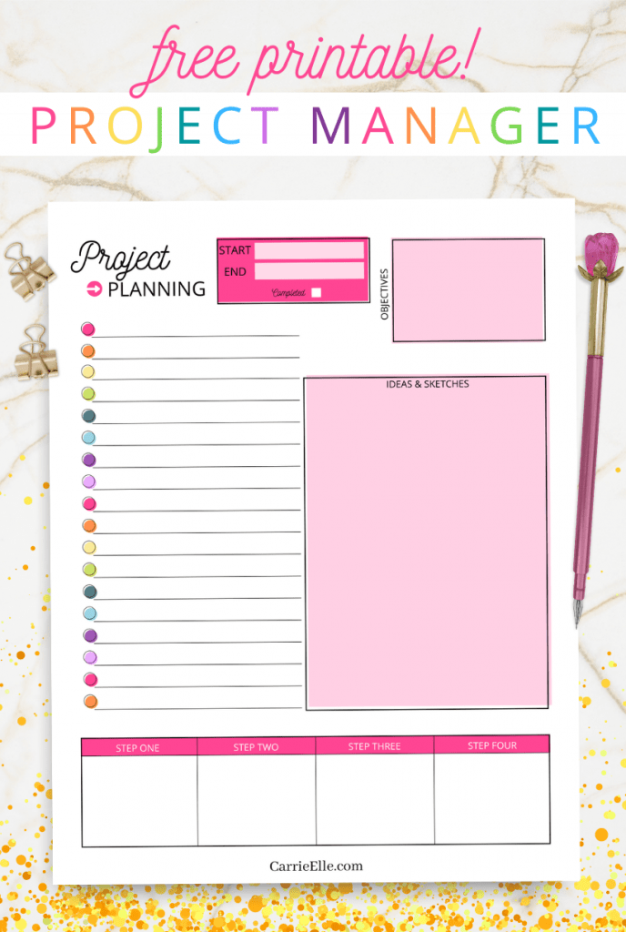 This gorgeous printable rainbow project planner is useful, cute, and simple to print at home. If you need a way to keep things organized and on track, try this simple printable project planner!