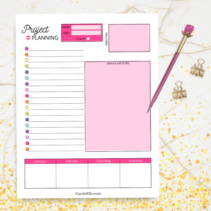 featured image showing the finished printable rainbow project planner ready to use.