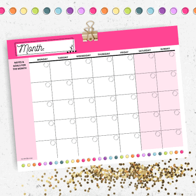 Today I'm sharing this gorgeous blank printable rainbow calendar! Getting organized has never looked so good. My free pink rainbow calendar is a printable blank rainbow calendar that you create at home and fill in to suit your needs!