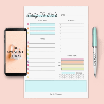 Printable Rainbow Daily Planning Page