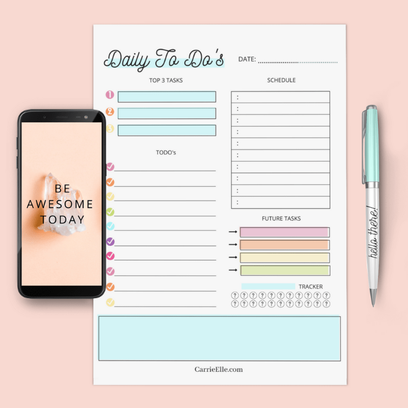 A close up view of the rainbow daily to do list planning page ready to be enjoyed.
