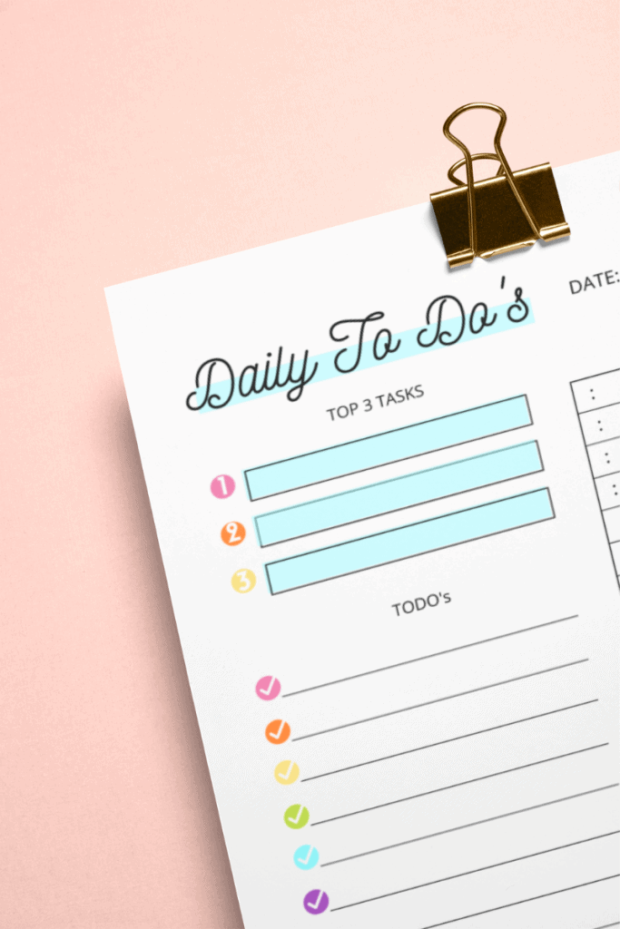 a close up of the top corner of the day planner printable rainbow printable daily planner page.