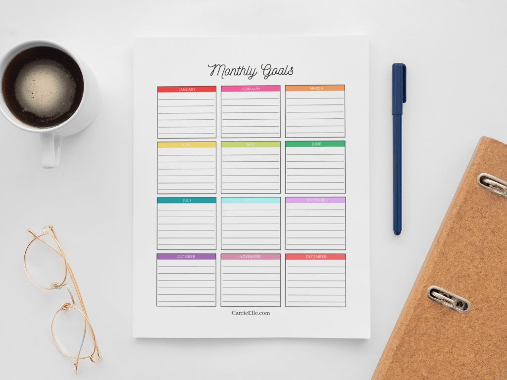 A top down look at the finished monthly goal tracker ready to be filled in for the year.