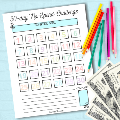Free 30-Day No-Spend Challenge Printable