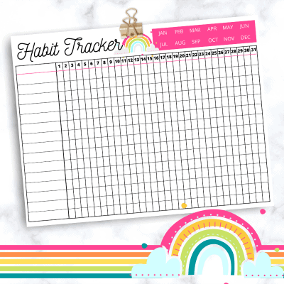 Printable Rainbow Habit Tracker