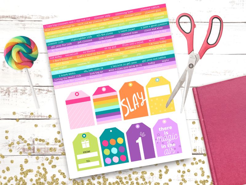 Today I'm sharing some gorgeous printable rainbow planner stickers that you can make at home! These rainbow tags are great for any planner or organizing sheets. Try your hand at making some rainbow text planner stickers to brighten up your next layout!