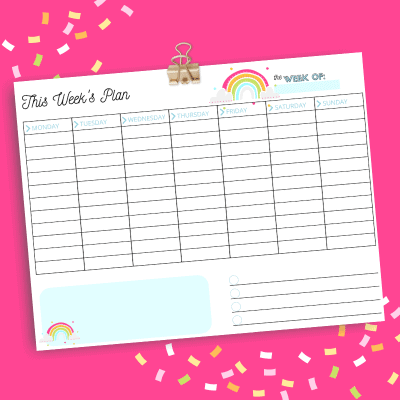 This printable weekly planner page is great for keeping track of all the many things you have going on throughout the week! My free downloadable weekly planning template is perfect for staying organized.