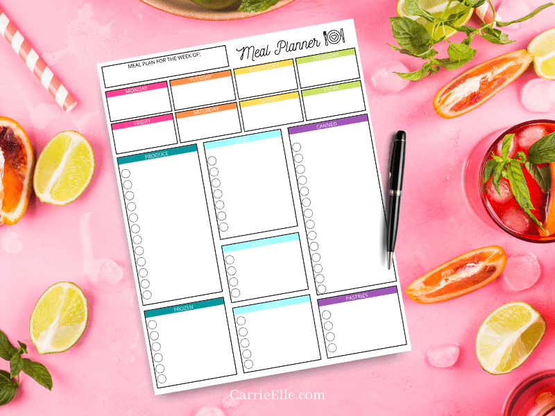 Do you need a bright, beautiful, and fun way to start meal planning? This Rainbow meal planning printable is perfection! My Printable rainbow meal planner is an easy to use meal planner with grocery list. You'll love it!