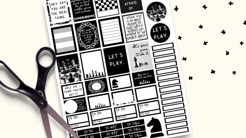 Printable Queens Gambit Planner Stickers