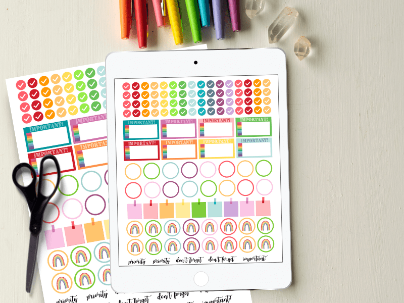 Looking for functional digital planner stickers?! You've got it! Today I'm sharing my printable rainbow planner stickers which are also digital rainbow planner stickers.