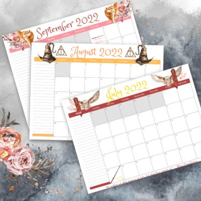 Free Printable 2022 Wizard Magic Harry Potter-Themed Calendar