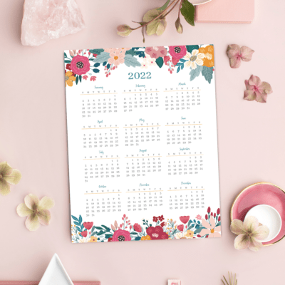 Free Printable 2022 Year-at-a-Glance Floral Calendar