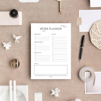 Printable Daily Work Planner {Black & White, Printer-Friendly}