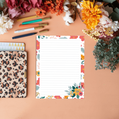 Free Printable Colorful Fall Floral Stationery