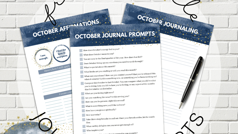 October Journal Prompts, Affirmations, and Journaling Printables