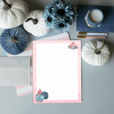 Free Printable Pink and Teal Pumpkin Stationery