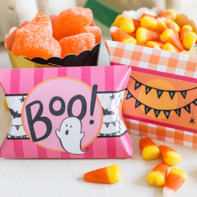 Free Printable Pink Halloween Pillow Boxes for Treats